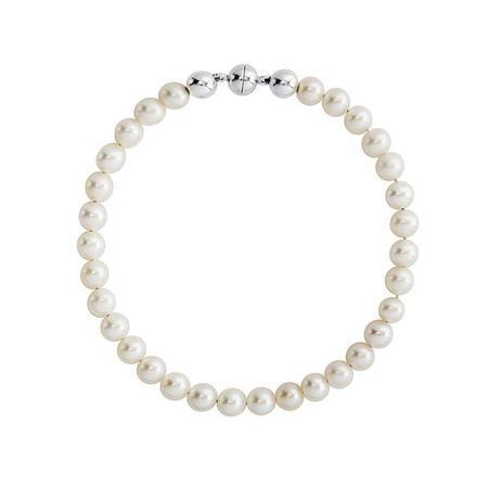 Silver Button Pearl Magnet Clasp Bracelet