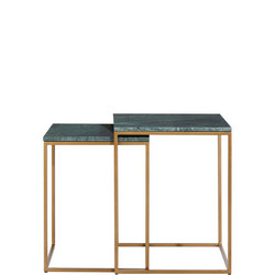 Kensington Nest Of Two Square Side Tables Green Marble