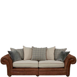 Marlow Maxi Split Sofa Latte Leather, Coccoon Buttermilk Mix