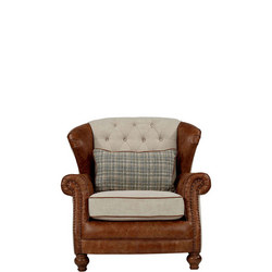 Marlow Wing Chair Latte Leather, Coccoon Buttermilk Mix