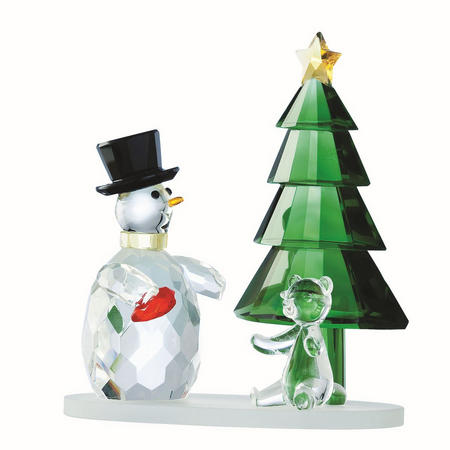 Living Magical Snowman and Green Tree
