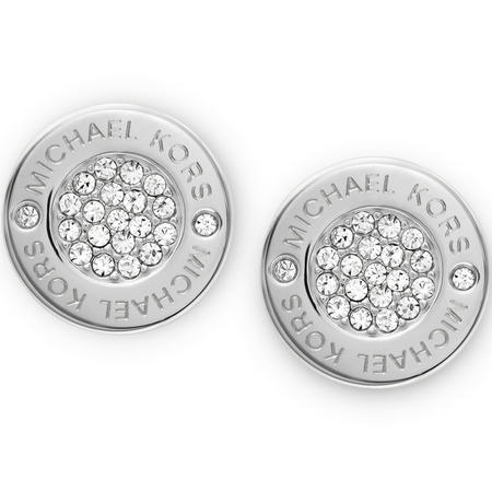 Silver Tone Logo With Clear Pave Center Stud Earring