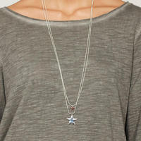 Double Star Necklace Silver