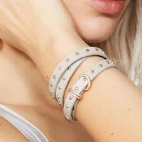 Dove Wrap Around Leather Bracelet Light Grey