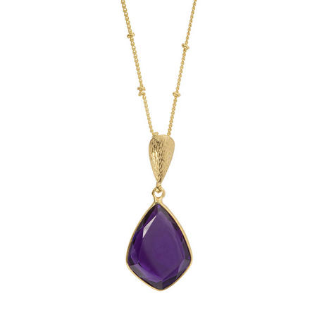 Gold Antibes Glamour Puss Pendant With Amethyst