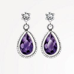 ER403P Earrings Purple Stone