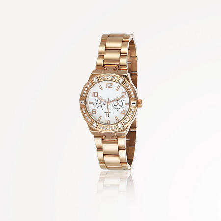 Rose Goldplate Watch Round Face
