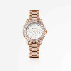 Rose Goldplate Watch Clear Stones