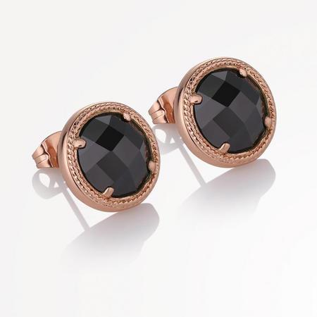 Guinness Rose GP Earrings Blk Stone
