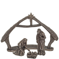 "New Silent Night Crib Ornament 7.75"" Bronze"
