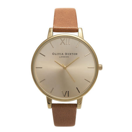Big Dial Watch Tan & Gold