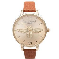 Animal Motif Moulded Bee Tan & Gold Watch