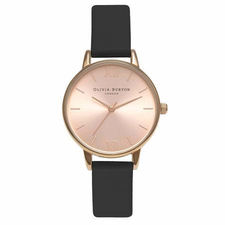 Midi Dial Black & Rose Gold Watch