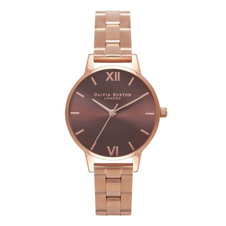 Brown Dial Watch Brown Dial Midi Rose Gold