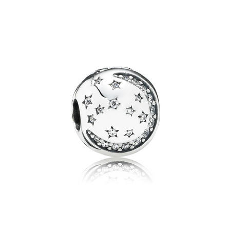 Twinkling Night Clip Charm Sterling Silver