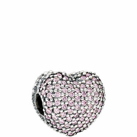 Pink Pavé Open My Heart Charm Sterling Silver