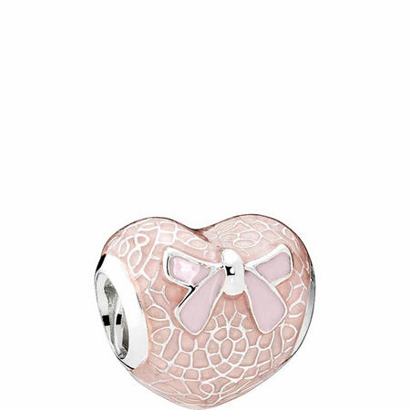 Pink Bow & Lace Heart Charm Sterling Silver