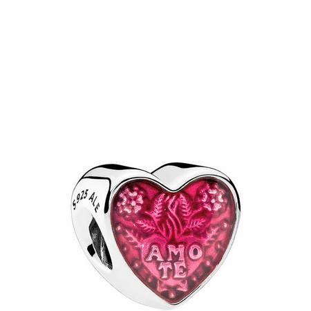 Latin Love Heart Charm Sterling Silver