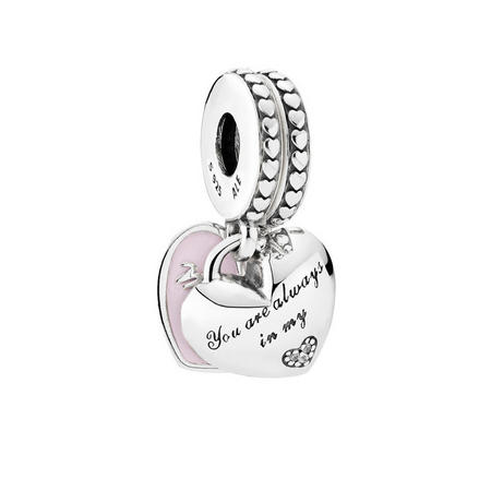 Mother & Daughter Hearts Charm Sterling Silver