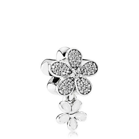 Dazzling Daisy Duo Charm Sterling Silver