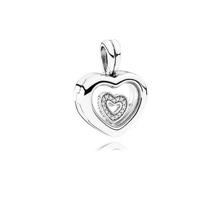 Floating Heart Locket Charm Sterling Silver