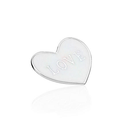 Love Heart Plate Charm SterlingSilver