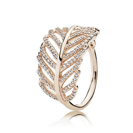 Rose Shimmering Feather Ring