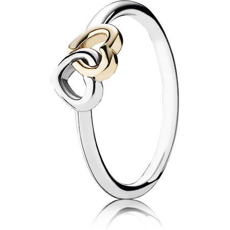 Interlocked Hearts Silver Ring With 14K
