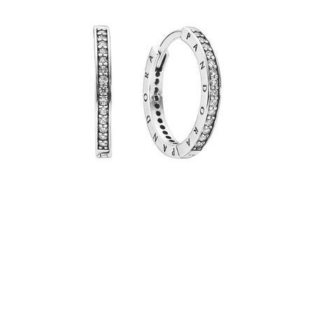 Signature Silver Hoop With Cubic Zirconia Earrings