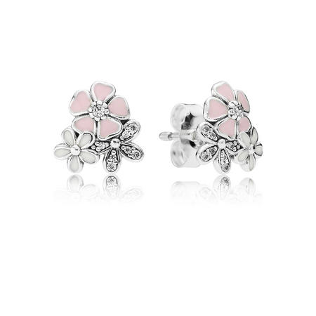 Silver Floral Stud Earrings With Cubic Zirconia