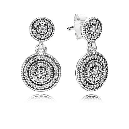 Silver Earrings With Cubic Zirconia Spiral