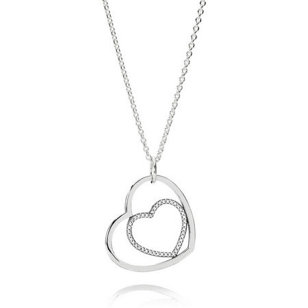 Hearts Silver Pendant With Cubic Zirconia And Necklace