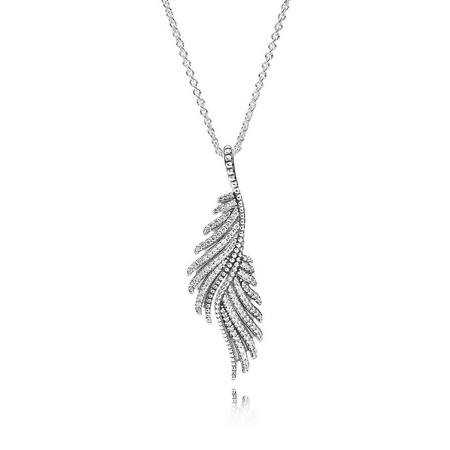 Sterling Silver Majestic Feathers Necklace