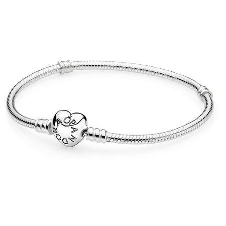 Silver Bracelet With Heart-Shaped Clasp