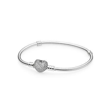 Moments Silver Bracelet Pavé Heart Bracelet