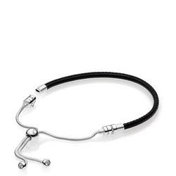 Moments Sliding Leather Bracelet, Black