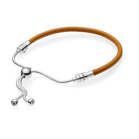 Moments Sliding Leather Bracelet, Golden tan