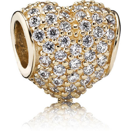 Heart Pave Gold Charm With Cubic Zirconia