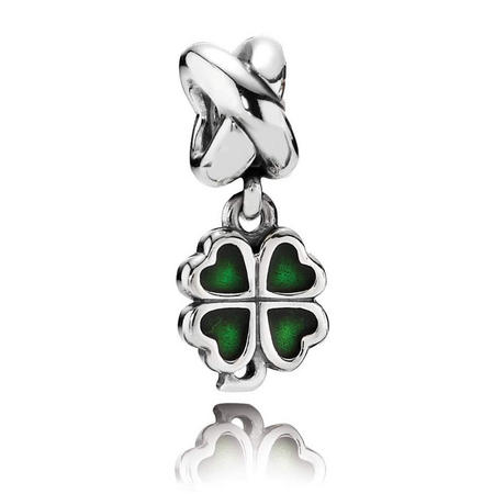 Four-Leaf Clover Silver Dangle