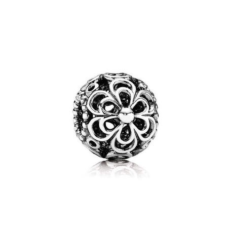 Silver Openworks Flowers Charm