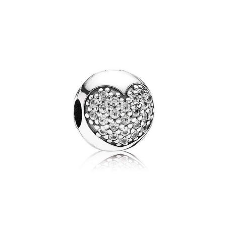 Sterling Silver Heart Pave Cubic Zirconia Dangle Charm
