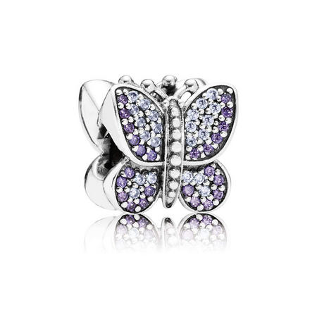 Pave Butterfly Charm Lavender