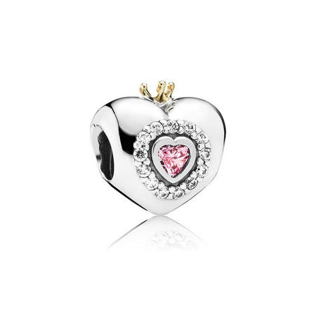 Heart With 14Ct Gold Silver Charm Pink And Clear Cubic Zirconia