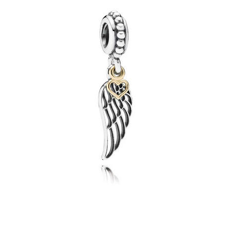 Angel Wing Silver Dangle Charm With 14K Gold Heart
