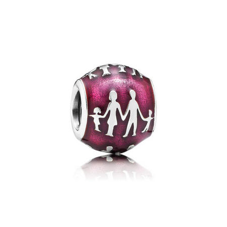 Family Silver Charm With Translucent Violet Enamel