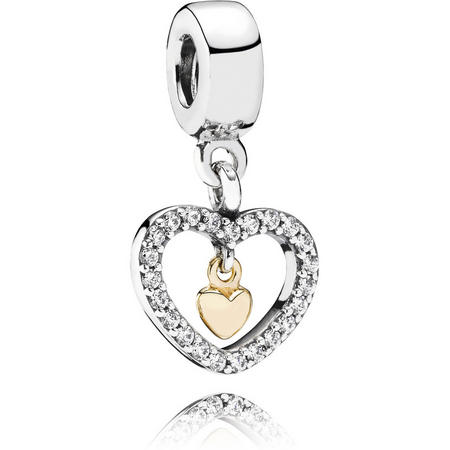 Heart Silver Dangle With 14K And Cubic Zirconia