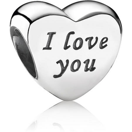 Heart Silver Charm With Engraving I Love You
