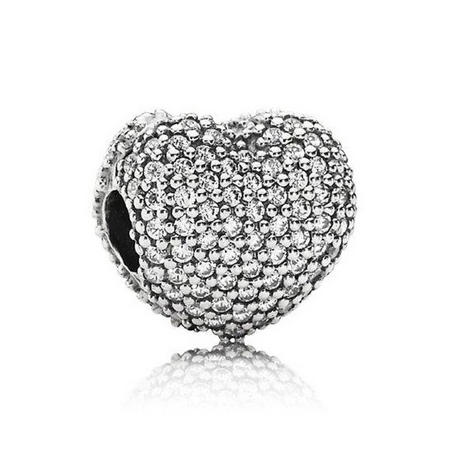 Heart Pave Silver Clip With Cubic Zirconia