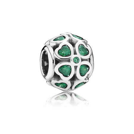 Sterling Silver Green Lucky Clover Charm