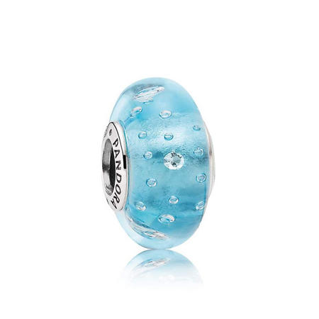 Sterling Silver Abstract Blue Murano Glass With Cubic Zirconia Charm